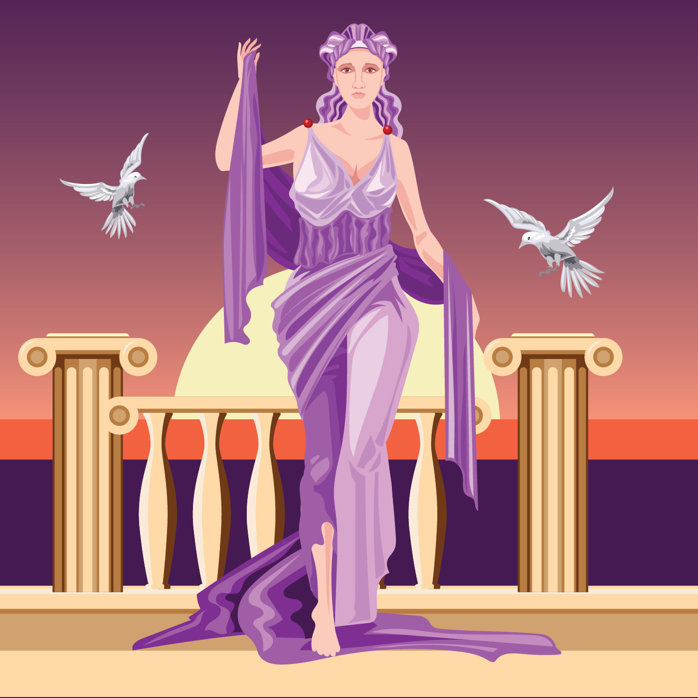 Classical Greek Goddess Aphrodite in Tunic Raising Arms ...