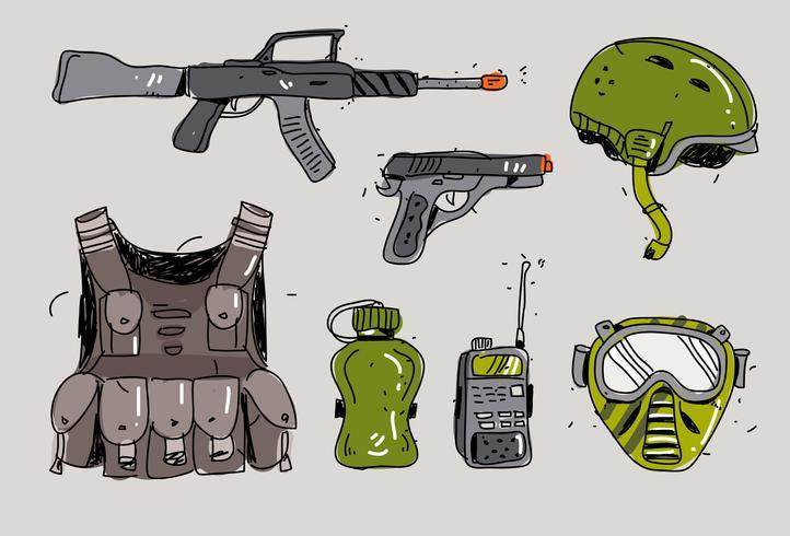 Airsoft Gun Kit Handdragen Vector Illustration