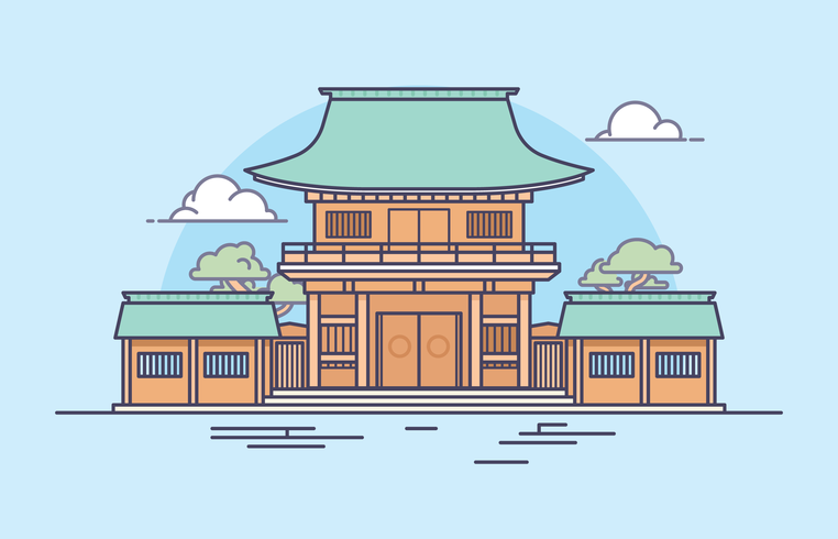 Japanese Shrine Illustration