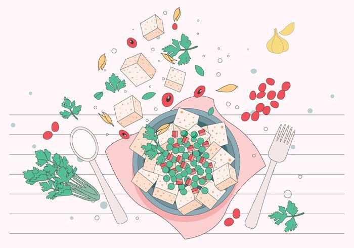 Vecteur de tofu délicieux