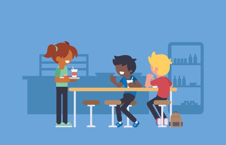 Schulkinder, die an der Schulkantine essen