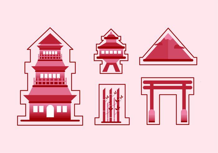 Etiqueta plana Red Shrine vector