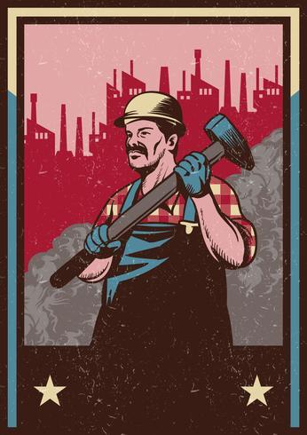 Arbetare Man Med Sledgehammer