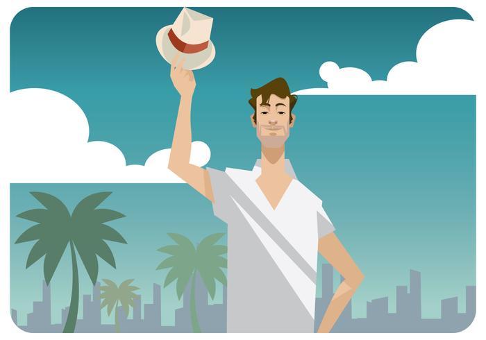 Man lyfter sin Panama hatt vektor