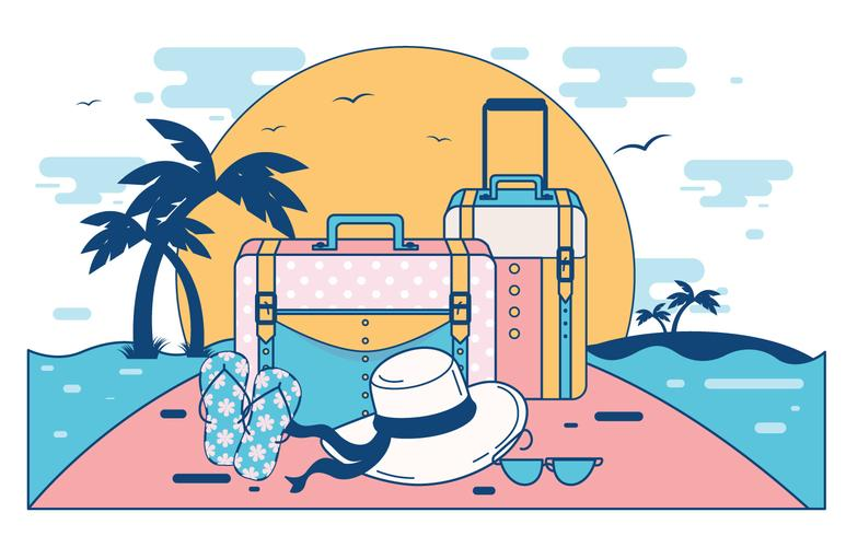 Summer Travel Card with Panama Hat Vector