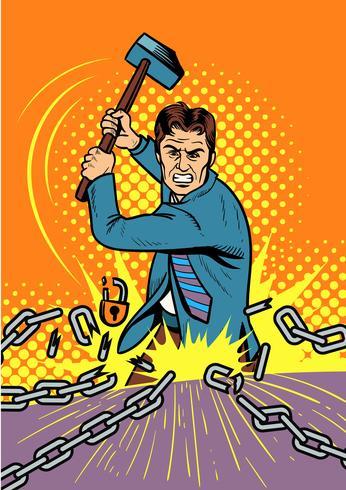 Hombre de negocios Smashing Chain Vector