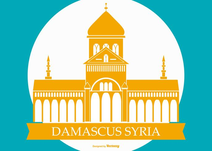 Famous Damascus Syria Building Illustration