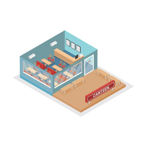 Canteen Isometric View Free Vector