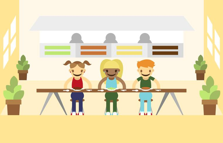 Canteen People Eating Illustration Vector