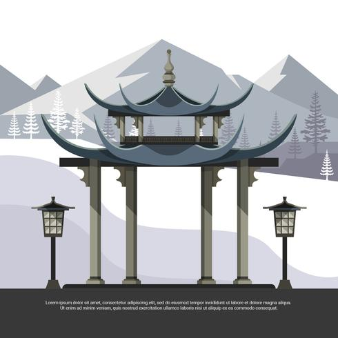 Shrine With Mountain Background Flat Vector Illustration