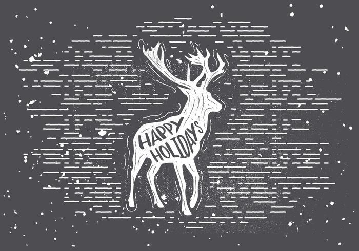 Free Hand Drawn Deer Vector Background
