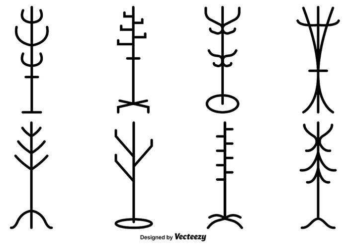 Vektor uppsättning av kappstativ silhuetter