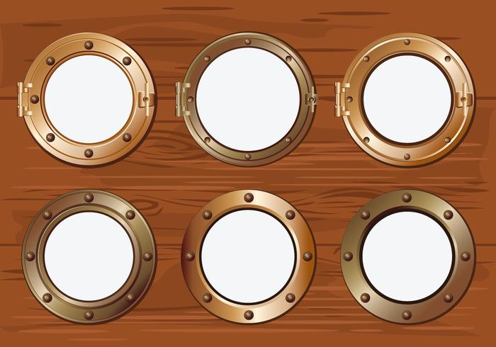 Gold Porthole or Ship Window on Wood Background