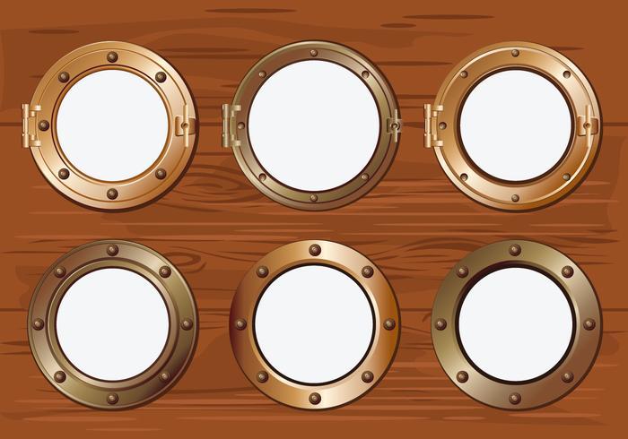 Vigia de ouro ou janela de navio em fundo de madeira