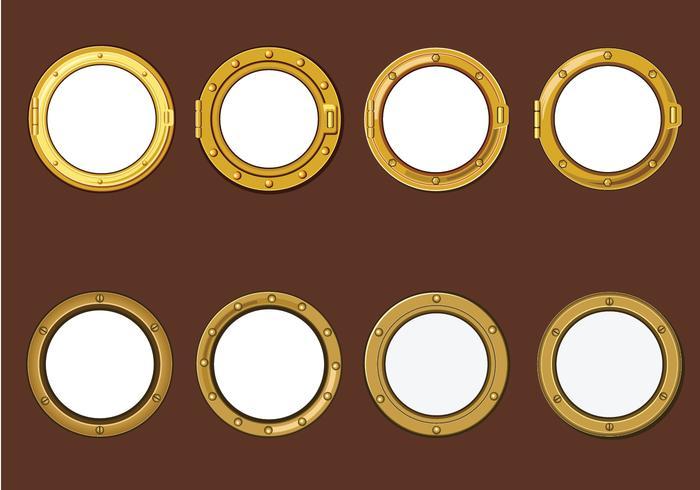 Gold Porthole or Ship Window on Wood Background Vectors