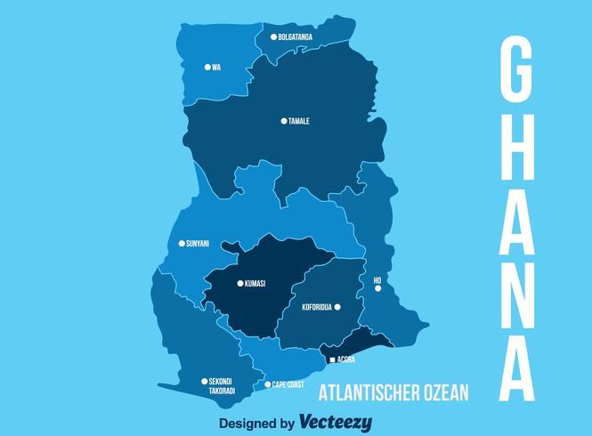 Blue Ghana Karte Vektor
