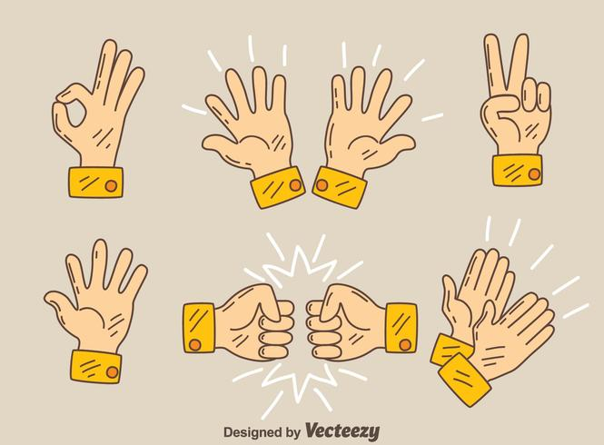 Hand Drawn Hands Gesture Vector