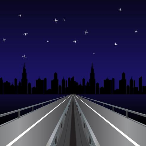 Highway At Night Vector