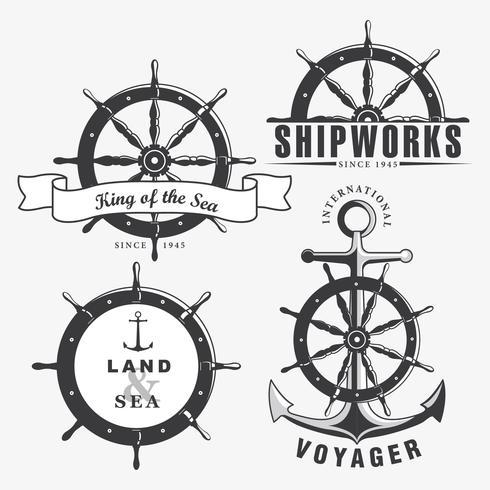 Schiffsrad Abzeichen Set Vektor