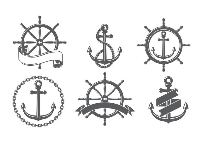 Ship Wheel Set Gratis vectoren