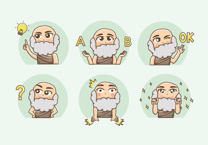 Sokrates Cartoon Aufkleber Vektor