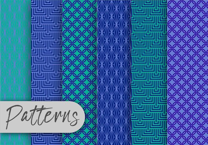 Conjunto de patrón geométrico azul vector