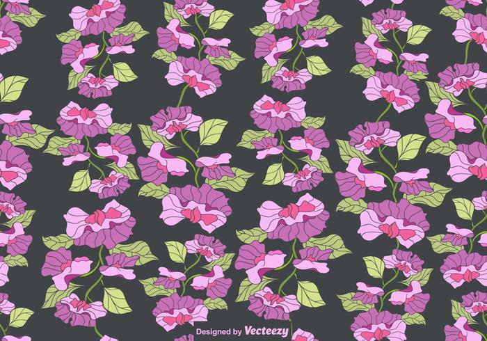 Vector Colorful Sweet Peas Flower Seamless Pattern