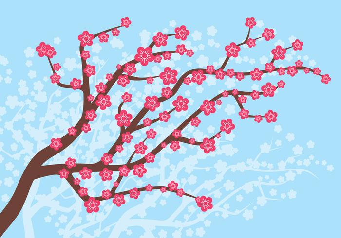 Plommonblomning i vårillustrationen