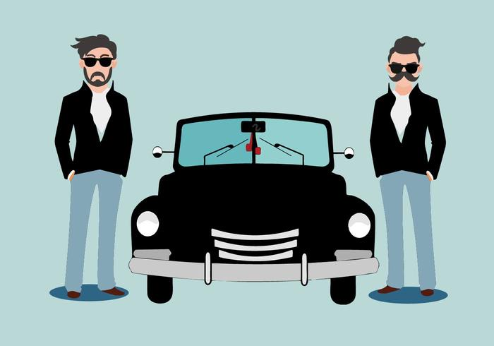 Free Greaser Standing Behind Classic Car Vector