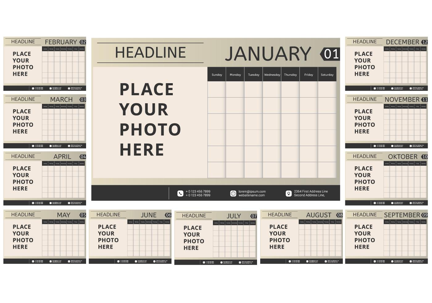 Monthly Calendar Template Vector : Vintage printable monthly calendar download free vector