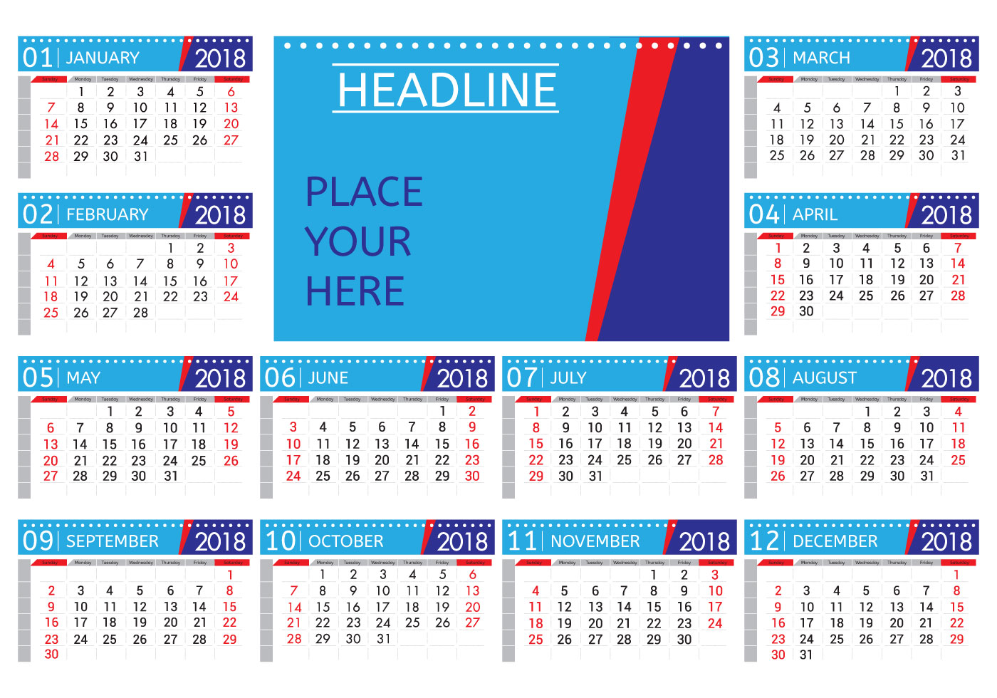 Weekly Calendar Vector : Printable monthly calendar vector download free