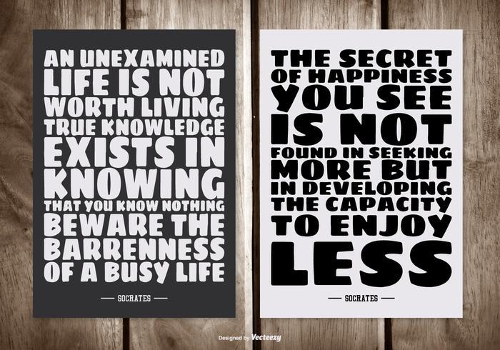Typographic Socrates Quote Tarjetas