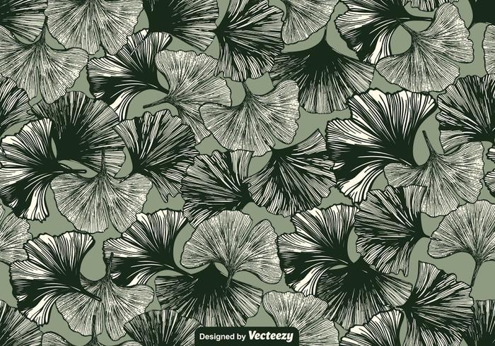 Vector Gingko Leaf Seamless Pattern