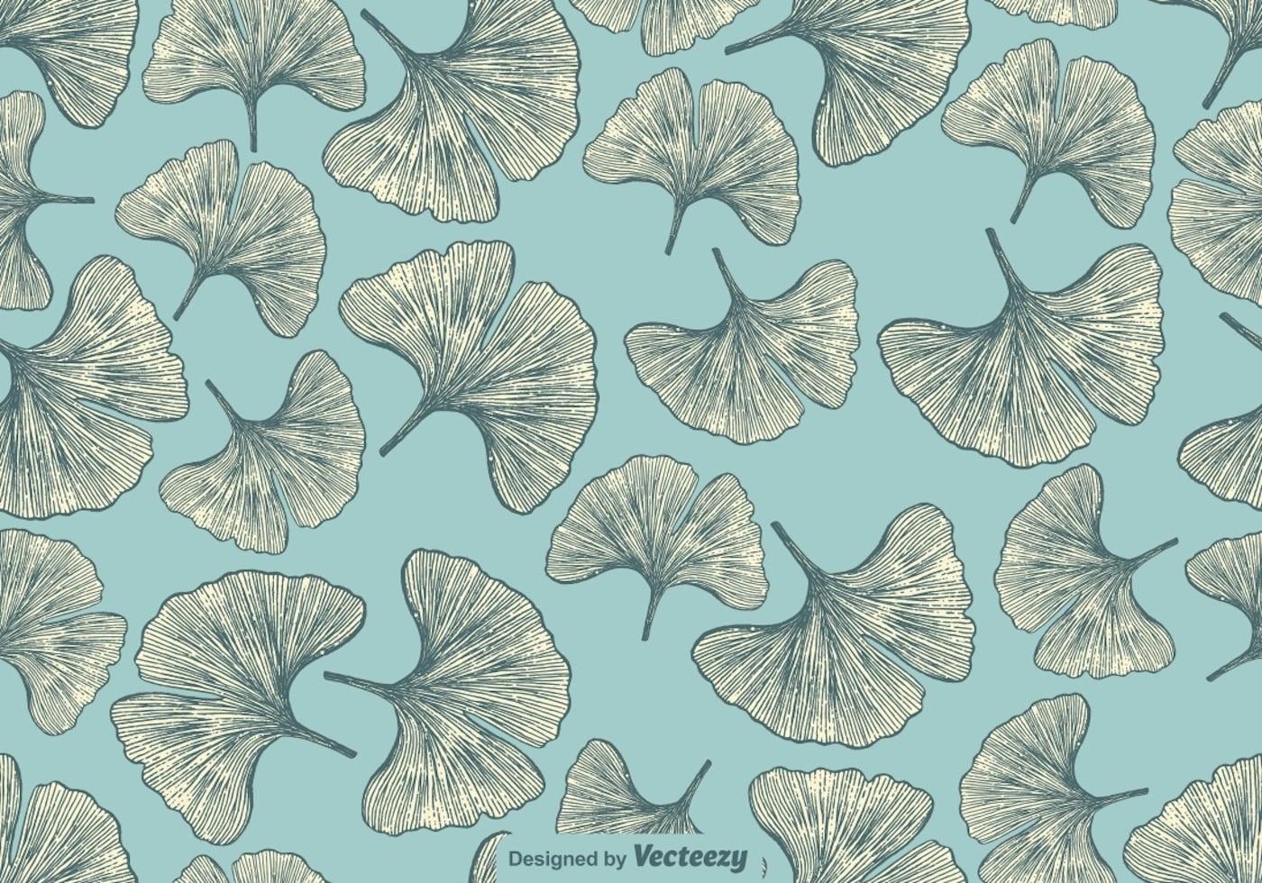 vector hand drawn gingko leaf seamless pattern download