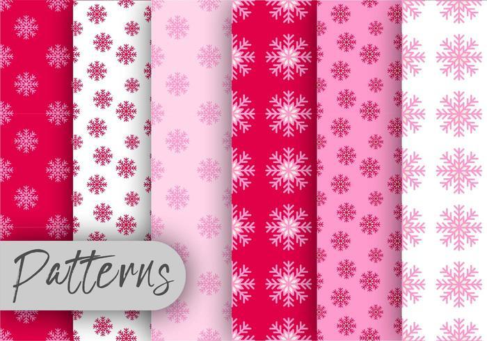 Ensemble de motifs de flocons de neige roses