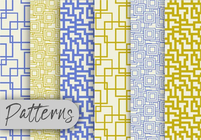 Olive And Blue Line Pattern Set  vector
