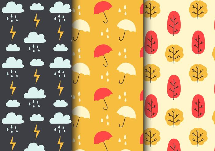 Free Seamless Rainy Weather Patterns
