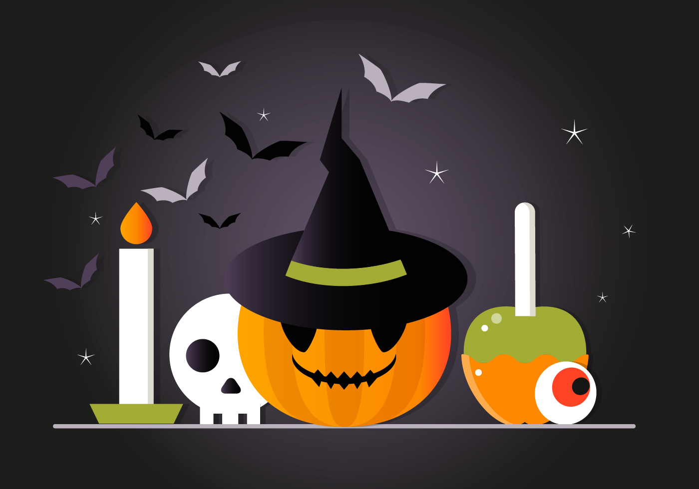 free scary halloween vector elements collection - download free
