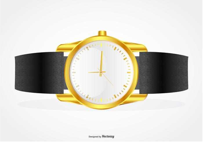 Highly Detailed Wrist Band with Gold Watch Illustration