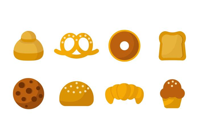 Kostenloses Brot oder Brioche Icons Vector