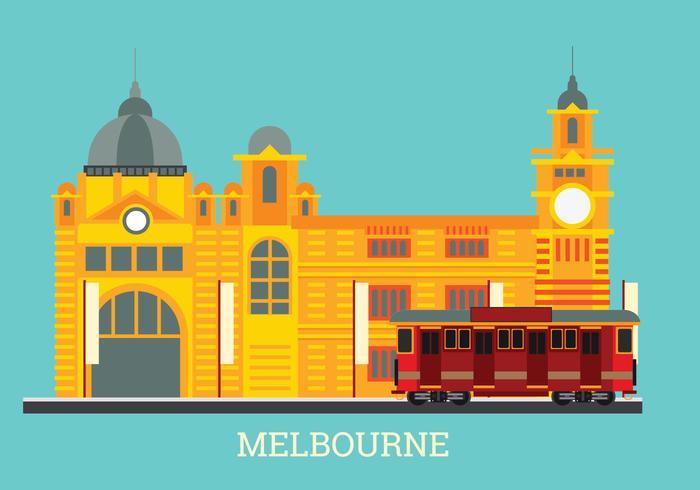 Flinders Station i Melbourne City Vector