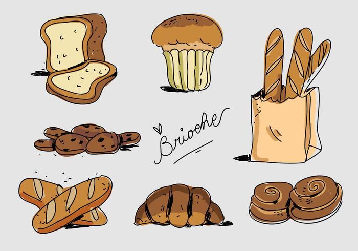 Fransk Bageri Brioche Handdragen Vektorillustration