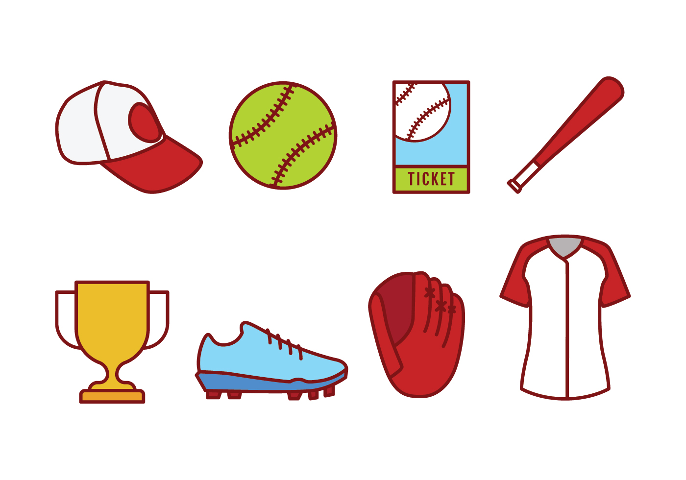 Softball icon set download free vector art stock graphics images for Softball vector free download