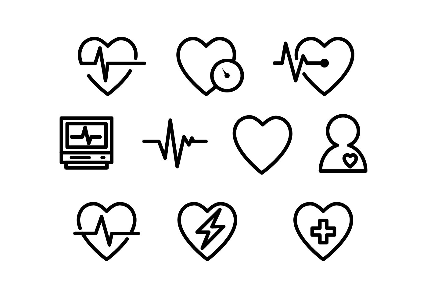 free heart medical line icon vector