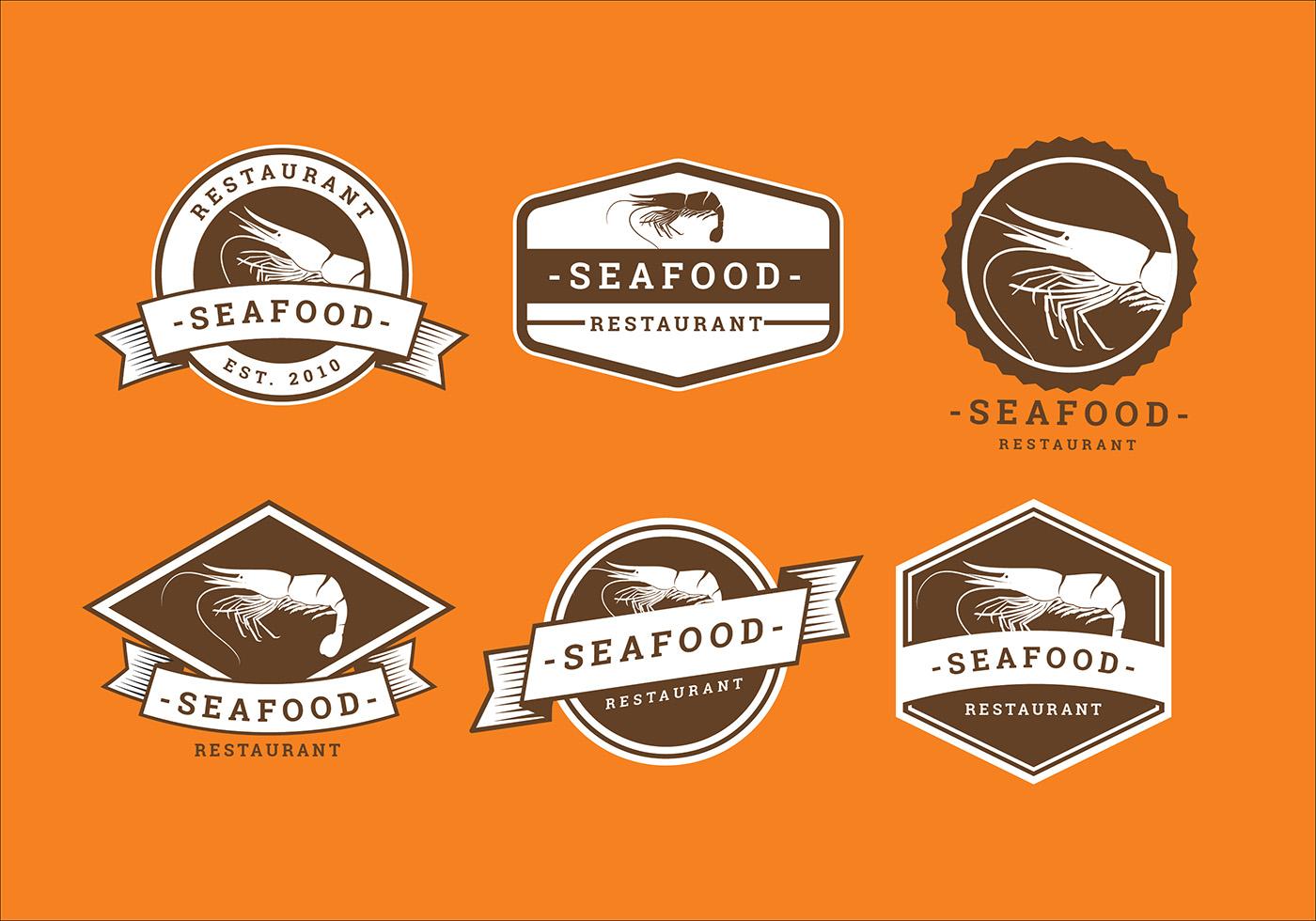 Prawn seafood restaurant logo vector download free