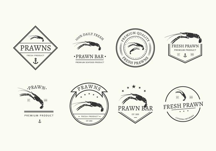Prawns Badges Vector