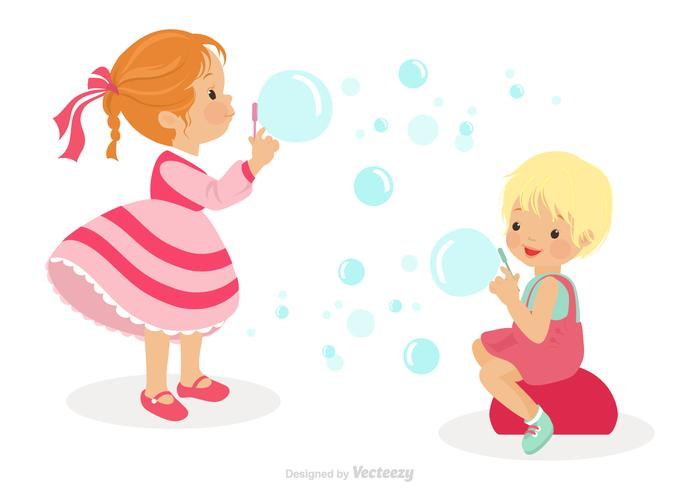 Cute Kids Playing With Bubble Blower Vector
