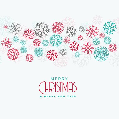 elegant christmas background with colorful flowing snowflakes
