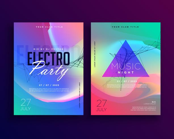 Electro Music Colorful Party Event Flyer Template Design Download