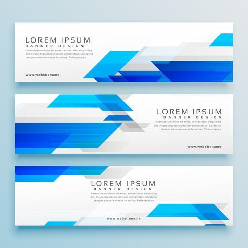 Conjunto de design de banner de cabeçalho de três estilos de negócios